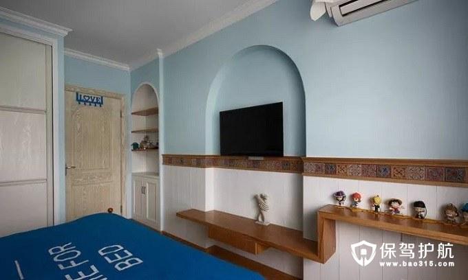 地中海风格卧室床尾电视背景墙
