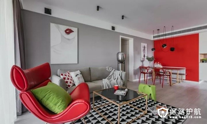 北欧风格红色客厅沙发背景墙