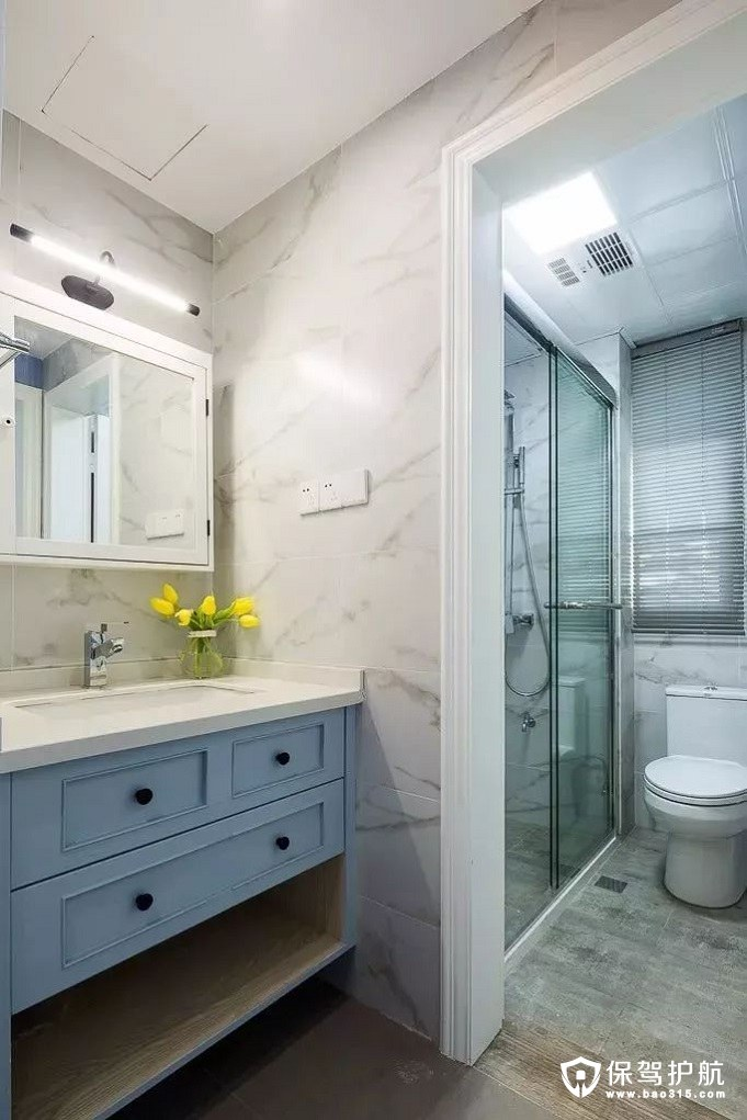方便、实用干湿分离现代美式淋浴房卫生间