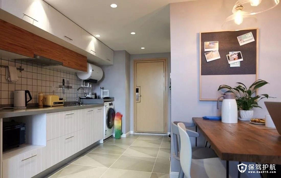 北欧风格厨房一字型木色系橱柜