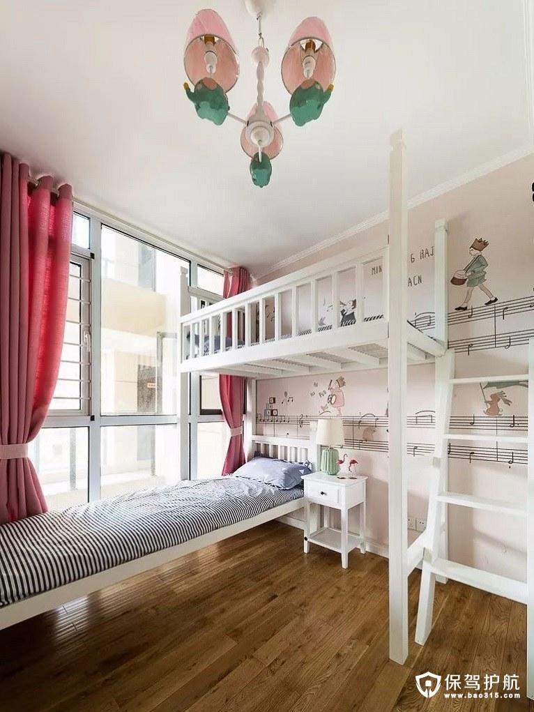 粉红色调现代美式客房创意上下铺