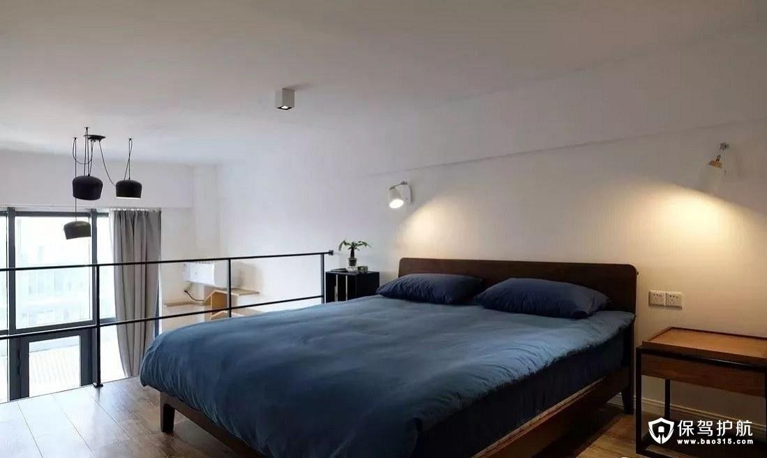 静谧而优雅北欧风格卧室深灰蓝床品