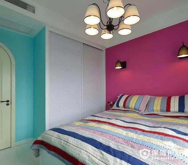 浪漫清新美式风格蓝色清新卧室