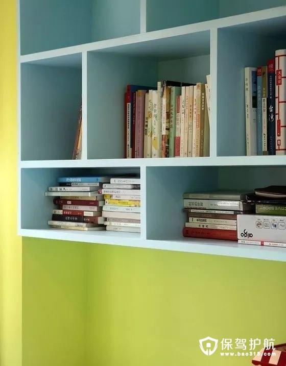 活泼黄蓝色美式风格书房书架