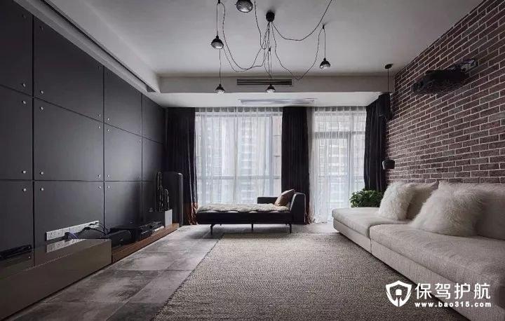 loft风格客厅电视墙硬包组合
