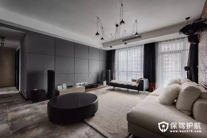 年轻又大方loft风格客厅灰色调电视墙、亚克力茶几