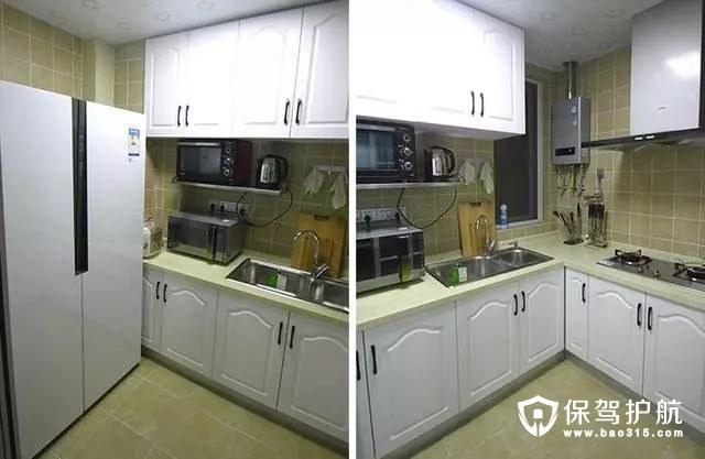 自然清新地中海风格厨房白色整体橱柜和暖黄色瓷砖