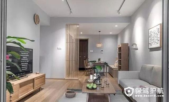 清新日式风格客厅简洁利落的木质线条…