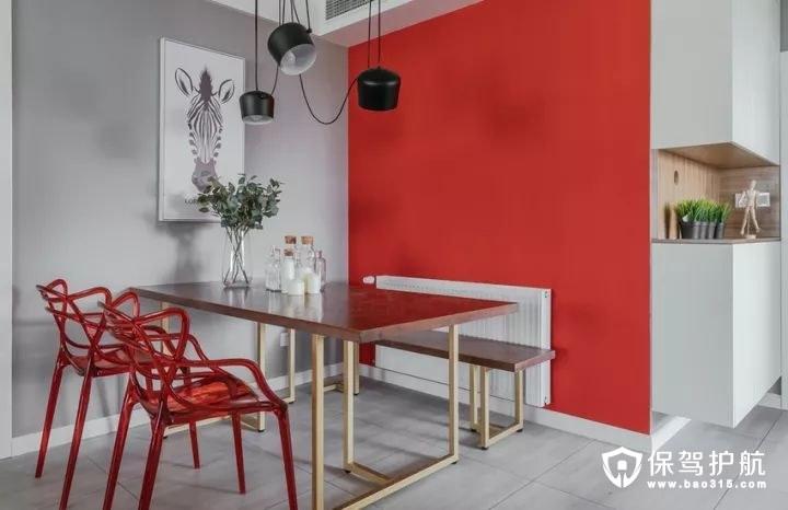 红色调勾人食欲的北欧风格餐厅