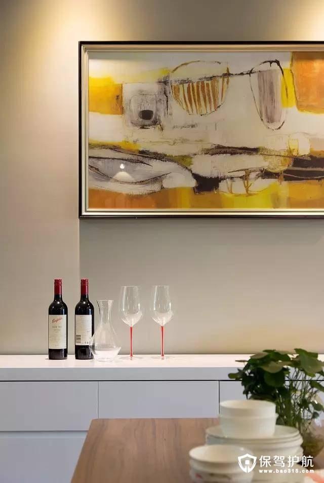现代简约风格餐厅抽象装饰画、艺术性吊灯