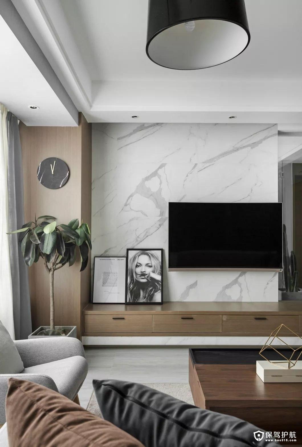 北欧风格客厅原木开放式电视柜