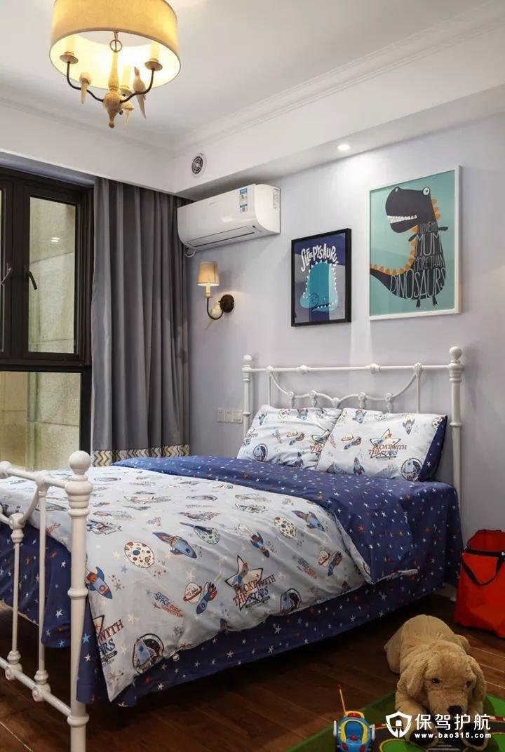 美式风格蓝色调儿童房