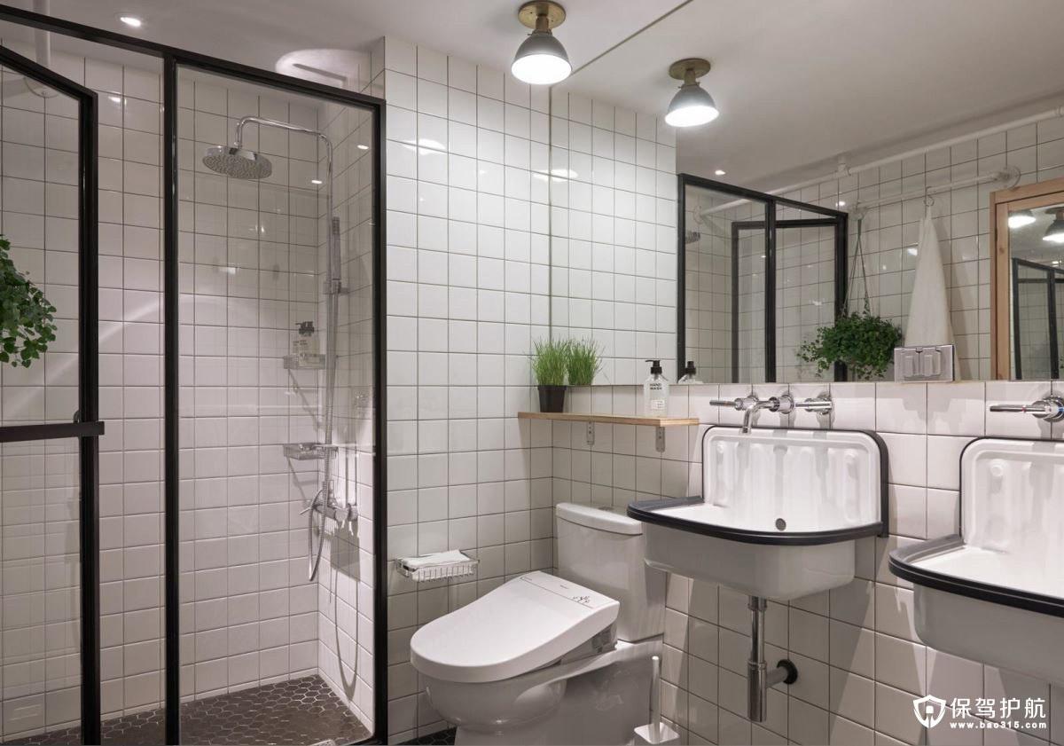 loft风格浴室格子花纹浴室贴砖黑边的玻璃门、洗手盆
