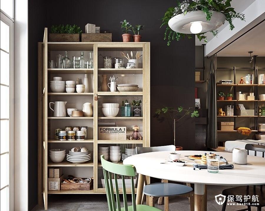 北欧风格餐厅 橱柜厨房用具