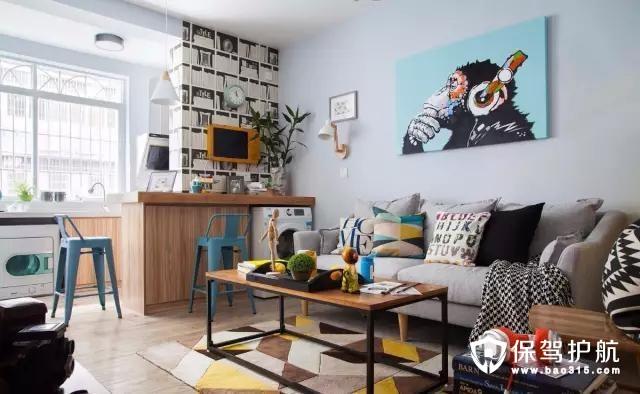 北欧风格客厅开放式厨房和客厅