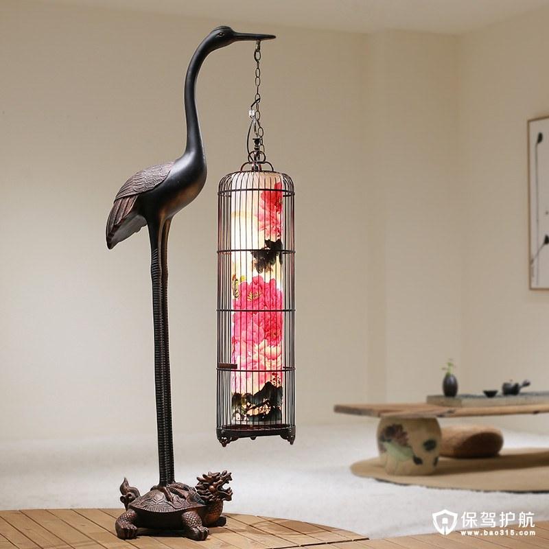 新中式仿古铜铁艺鸟笼仙鹤复古落地灯