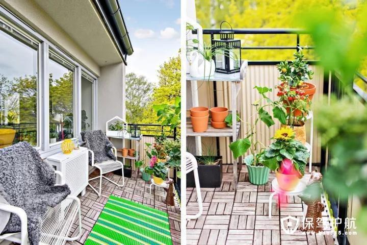 露天的阳台,装成一个小花园,种些花花草草,充满自然舒适的气息。