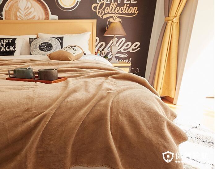 咖啡毛绒毯