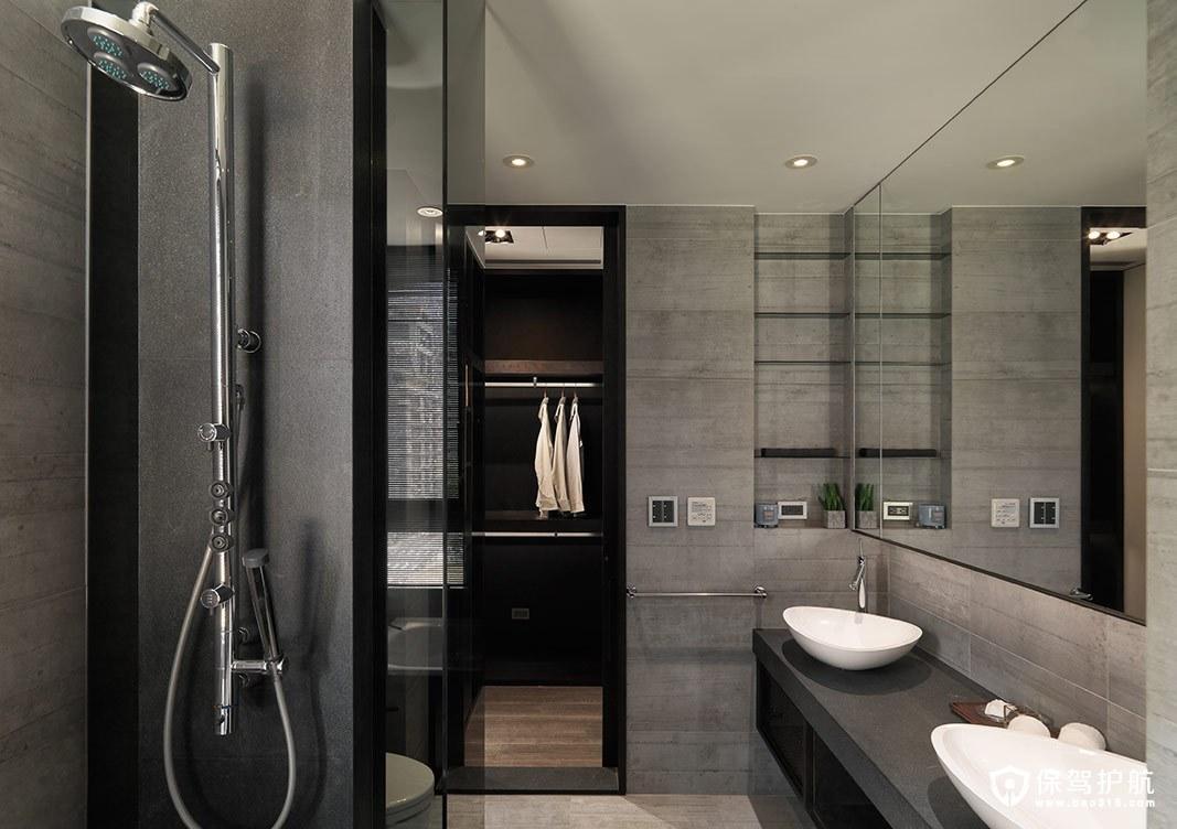 灰色调工业风卫浴设计