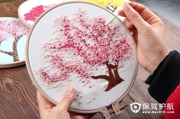 樱花树手工创意立体刺绣