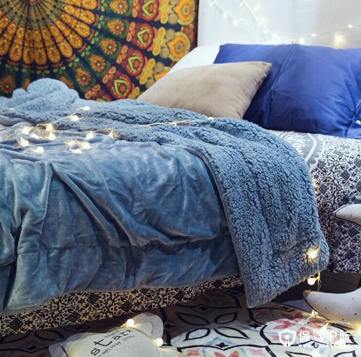 北欧纯色双面保暖棉绒毯