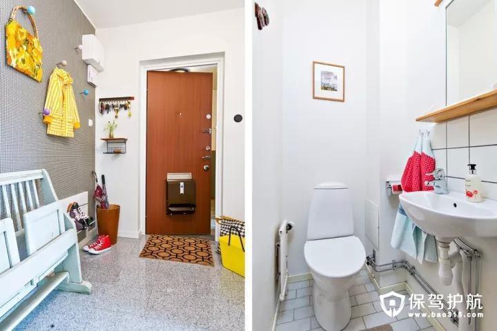 玄关位置在门后装了一些实用的挂钩,同时还摆了一张折叠换鞋凳,显得文艺有精致。卫生间虽小,布置得简约实用。
