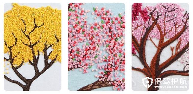 立体花卉刺绣