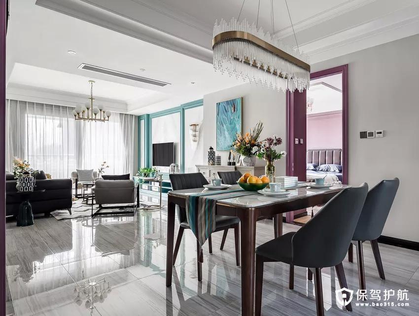 电视墙的湖蓝拼接借着装饰画的起承转合,一路将一抹清新送上了餐桌,桌面荡起涟漪,拖着细腻的瓷盏,与客厅遥相呼应。