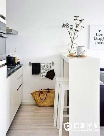 白色实木家具吧台设计