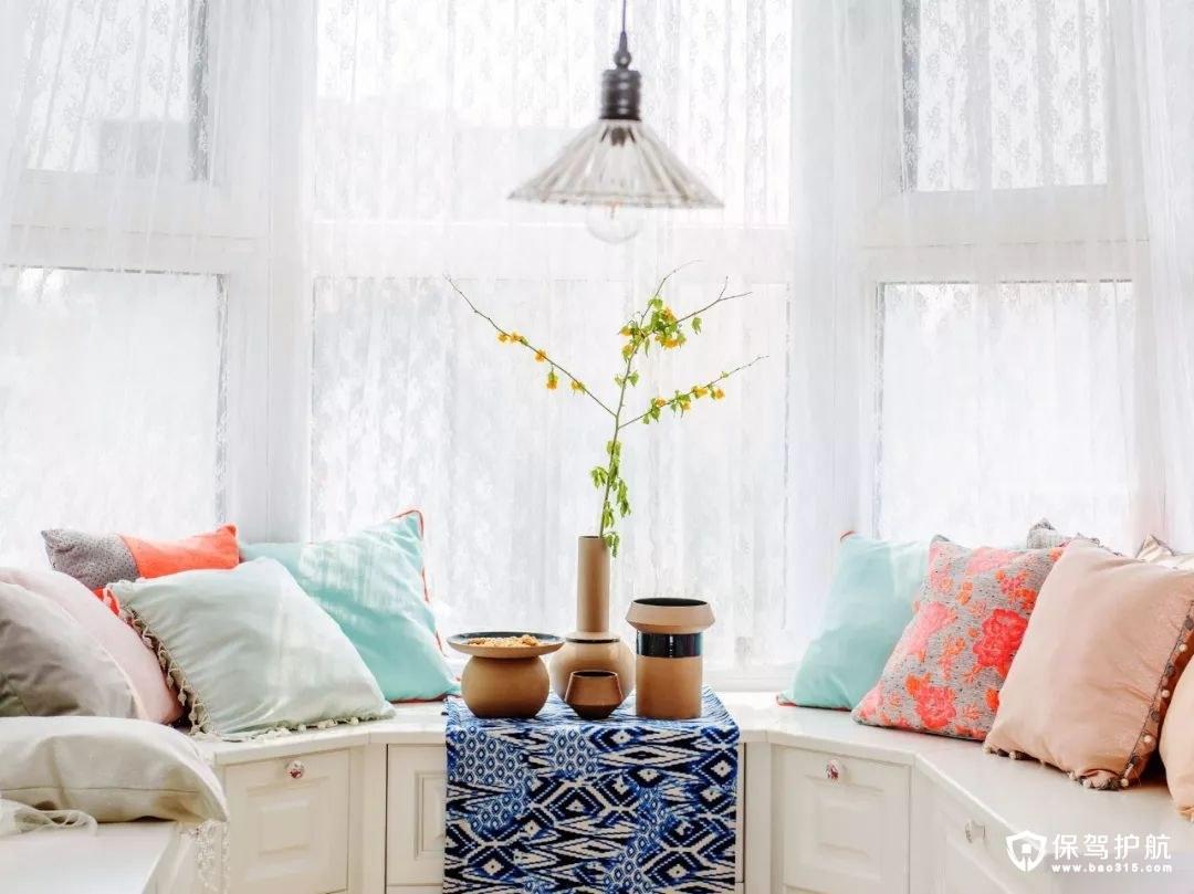 独特靓丽的美式风格阳台清新配色、文艺插花