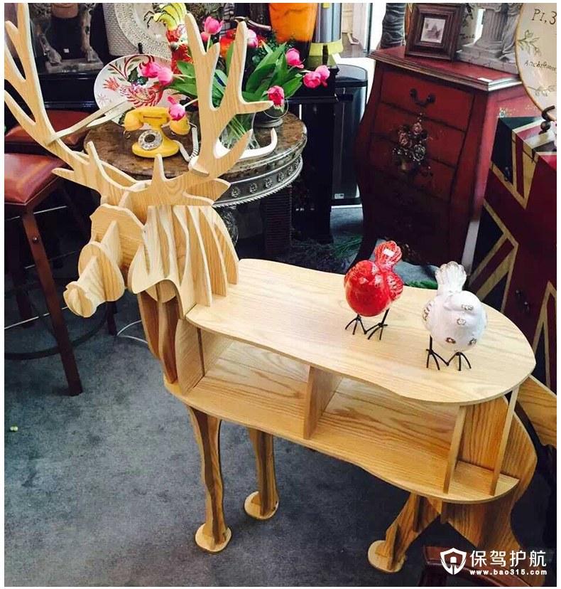 原木麋鹿置物架装饰