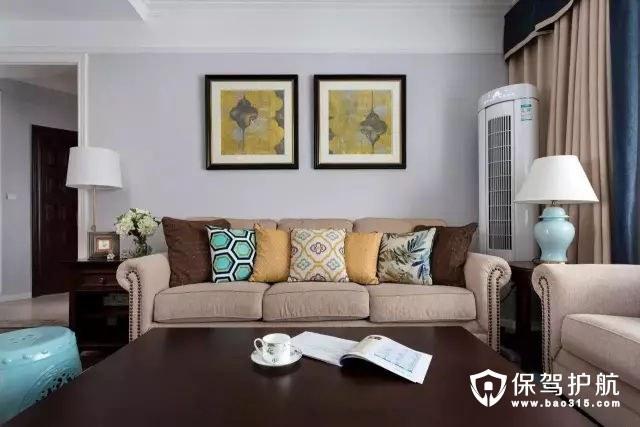 舒适现代又有档次的美式风格客厅沙发背景墙