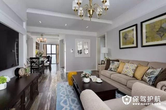 美式风格复古质感客厅地板