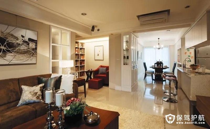 客厅沙发墙书房阅读区与餐厅