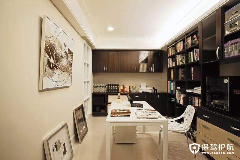 书房L型的书柜设计