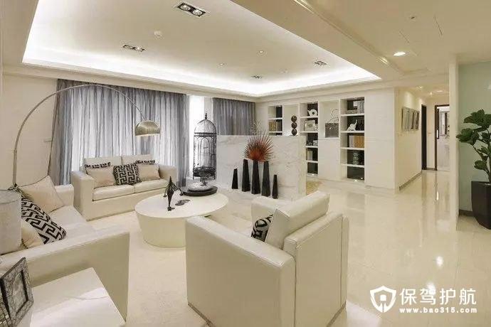电视墙半遮蔽界定客厅与书房