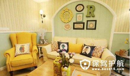 马卡龙清新浪漫 美法混搭三居室