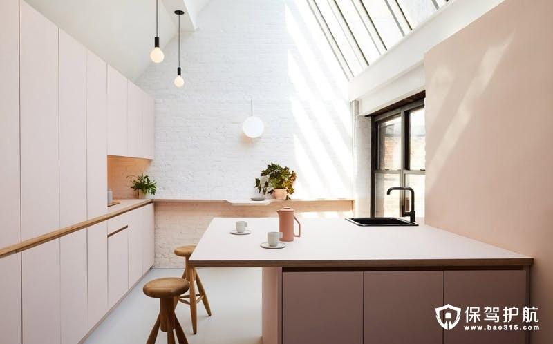 淡粉色厨房装修效果图