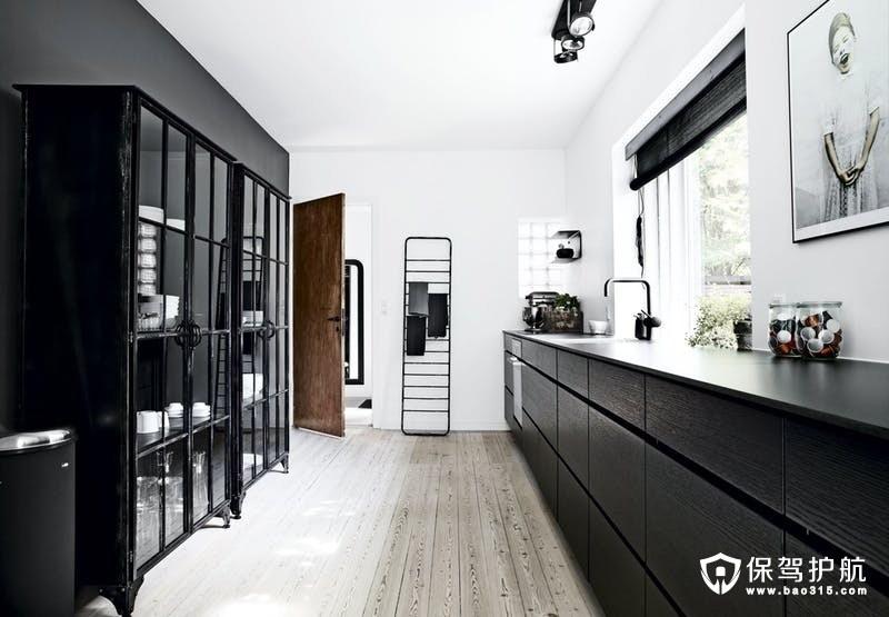 黑色厨房设计装修效果图