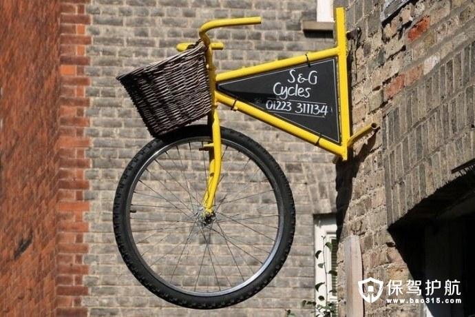 空中创意自行车门牌设计