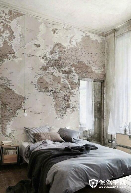 室内设计墙纸的运用 世界地图山水油画身临其境
