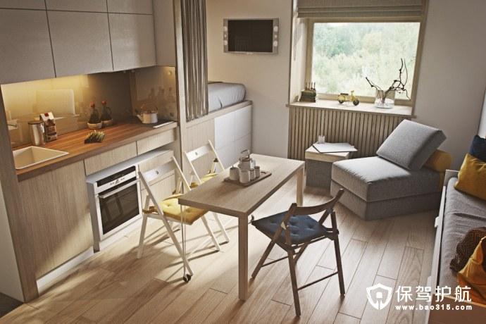 20㎡的mini公寓参考 营造轻松自然氛围
