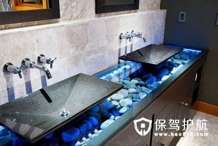 蓝色鹅卵石海底世界洗手台设计