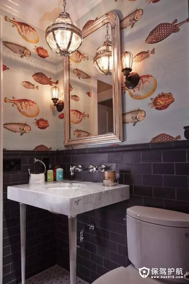 卫浴间装修海底世界壁纸