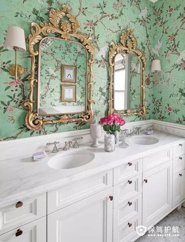 卫浴间壁纸设计 看花你的眼