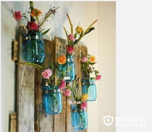 木头装饰壁挂花瓶