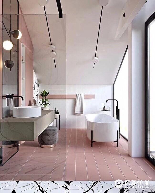 樱花粉卫浴设计