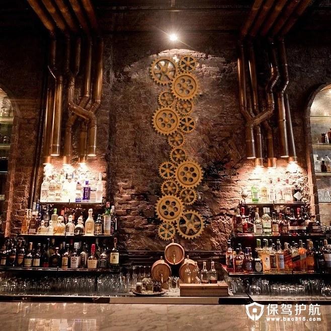 超有情调的复古工业风咖啡厅壁饰