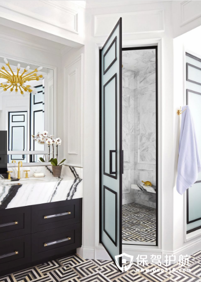 让你感觉清新又奢华的黑白浴室设计效果图!