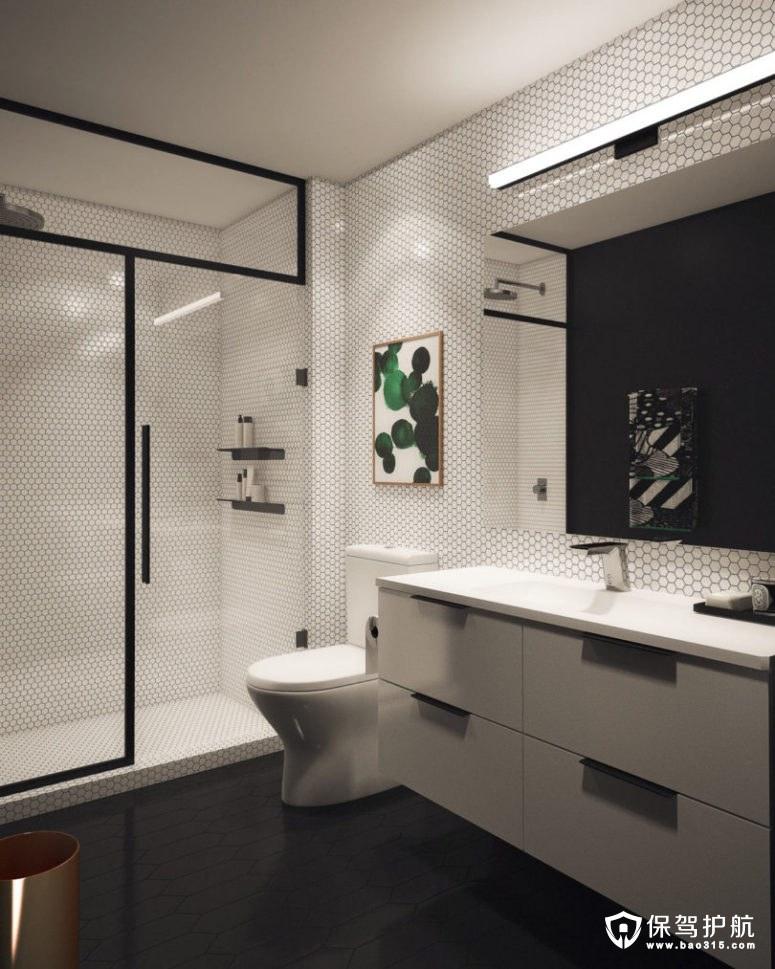 黑色撞到绿色的现代浴室设计效果图!